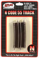 "Atlas N Scale Code 55 13.75"" Radius 1/2 Curve 6-Pack Model Train Track"
