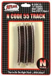 "Atlas N Scale Code 55 15"" Radius 1/2 Curve 6-Pack Model Train Track"