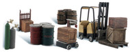 Woodland Scenics N Scale Scenic Accents Detail Set Loading Dock/Fork Lift/Barrel