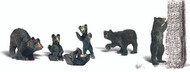 Woodland Scenics N Scale Scenic Accents Figures/Animal Set Black Bears (6)