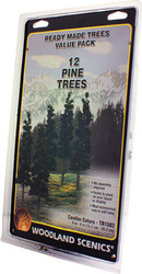 "Woodland Scenics Coniferous/Pine Ready Made Trees 6"" to 8"" 12-Pack"