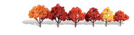 "Woodland Scenics Classic Trees Ready Made Harvest Blaze 3"" to 5"" Tall 6-Pack"