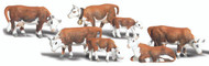 Woodland Scenics N Scale Scenic Accents Figures/Animal Set Hereford Cows (7)