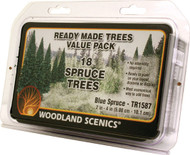 "Woodland Scenics Blue Spruce/Pine Ready Made Trees 2"" to 4"" 18-Pack"