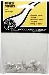 Woodland Scenics Model Railroad Landscape Broken Tree Stumps (Castings) 14-Pack
