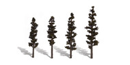 "Woodland Scenics Classic Trees Ready Made Standing Timber 4"" to 6"" Tall 4-Pack"