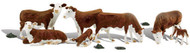 Woodland Scenics O Scale Scenic Accents Figures/Animal Set Hereford Cows (7)
