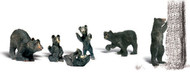 Woodland Scenics O Scale Scenic Accents Figures/Animal Set Black Bears (6)