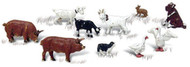 Woodland Scenics N Scale Scenic Accents Figures/Animal Set Barnyard Animals (10)