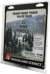 "Woodland Scenics Coniferous/Pine Ready Made Trees 2-1/2"" to 4"" 33-Pack"