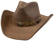 Stetson Roxbury Mocha Distressed Shapeable Leather Cowboy Western Hat - Medium