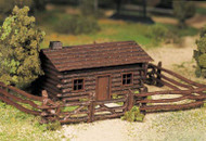 Plasticville O Scale USA Classic Building/Structure Kit Log Cabin w/Rustic Fence
