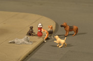 Bachmann HO Scale SceneScapes Figure Set Animals Dogs w/Fire Hydrant 6-Pack