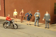 Bachmann HO Scale SceneScapes Figure Pedestrians/City People/Motorcycle 7-Pack