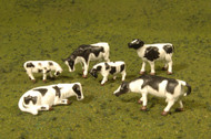 Bachmann HO Scale SceneScapes Figure Set Animals Cows Black & White 6-Pack