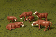 Bachmann HO Scale SceneScapes Figure Set Animals Cows Brown & White 6-Pack