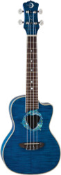 Luna Concert Uke Ukulele Acoustic/Electric Flame Top Transparent Blue W/Bag