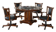 Imperial 2-in-1 Game (Poker/Dining) Table and 4 Chairs Set - Distressed Walnut