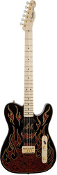 Fender® James Burton  Telecaster® Tele® Electric Guitar Black Red Paisley Flame