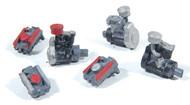 Durango Press HO Scale Model Railroad Detail Parts - Auto Engines Cast Metal (6)