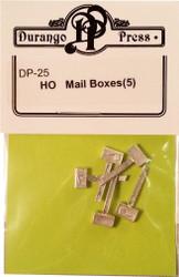 Durango Press HO Scale Model Railroad Detail Parts - Rural Mailboxes (5-Pack)