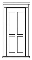 Durango Press HO Scale Model Railroad Detail Parts - Plastic Doors - Four Panel