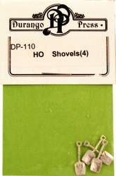 Durango Press HO Scale Model Railroad Detail Parts - Shovels (4-Pack)