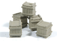 Durango Press HO Scale Model Railroad Detail Parts - Small Square Crate (5-Pack)
