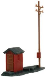 Atlas HO Scale Model Railroad Building Kit Telephone Shanty & Pole