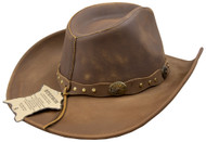 Stetson Roxbury Mocha Distressed Shapeable Leather Cowboy Western Hat - Large