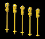 Hi-Tech Details HO Scale Yellow Parking Meters on Stands (Pack of 14)