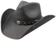 Stetson Roxbury Black Distressed Shapeable Leather Cowboy Western Hat - Medium