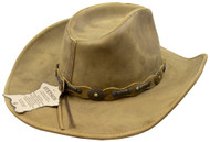 Stetson Roxbury Rust Distressed Shapeable Leather Cowboy Western Hat - Small