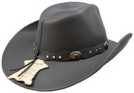 Stetson Roxbury Black Distressed Shapeable Leather Cowboy Western Hat - Large