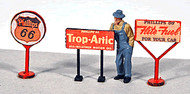 JL Innovative Designs HO Scale - 3 Vintage Gas Station Curb Signs Phillips 66