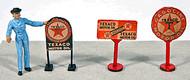 JL Innovative Designs HO Scale Detail - 3 Vintage Gas Station Curb Signs Texaco
