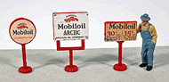 JL Innovative Designs HO Scale Detail - 3 Vintage Gas Station Curb Signs Mobil