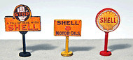 JL Innovative Designs HO Scale Detail - 3 Vintage Gas Station Curb Signs Shell