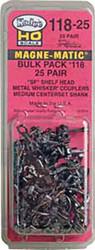 Kadee HO Scale #118 Whisker MagneMatic Knuckle SF Shelf Coupler 25Pair Bulk Pack