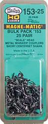 Kadee HO Scale #153 Whisker MagneMatic Knuckle Short Coupler 25 Pair Bulk Pack