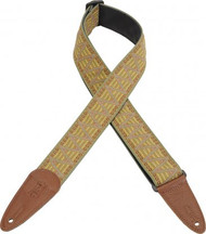"Levy's MGHJ2-004 2"" Jacquard & Leather Hipster Guitar/Bass Strap Sand & Blue"