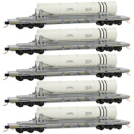 Micro-Trains MTL N-Scale Navy/DODX Missile Load Flat Cars - Runner 5-Pack
