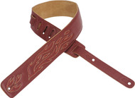 "Levy's DM1SGF-BRG 2.5"" Leather Guitar/Bass Strap w/ Flame  Embroidery - Burgundy"