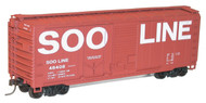 Accurail HO Scale Kit 40' Steel Box Car Combo-Door Box Car Soo Line #48408