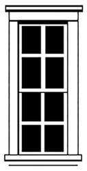 Durango Press HO Scale Model Railroad Parts - Plastic Tall Windows (4)