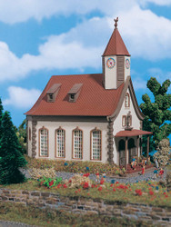 Vollmer Z Scale Building/Structure Kit Village Center Church with Clock Tower