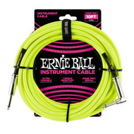Ernie Ball P06080 10' Braided Straight/Angle Instrument Cable Neon - Yellow