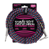 Ernie Ball P06063 25' Braided Straight/Angle Instrument Cable - Multi