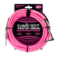 Ernie Ball P06083 18' Braided Straight/Angle Instrument Cable - Neon Pink