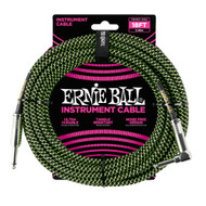 Ernie Ball P06082 18' Braided Straight/Angle Instrument Cable - Black/Green